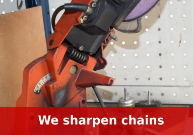 We professionally sharpen the chain of your chainsaw